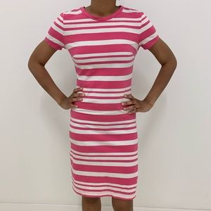 Pink Striped T-Shirt Dress